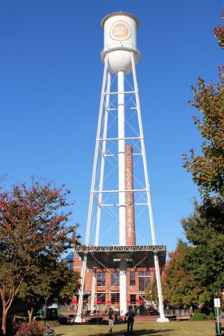 Lucky Strike water tower and smokestack