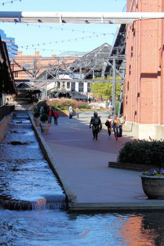 Waterway at American Tobacco Historic District (with superheroes)