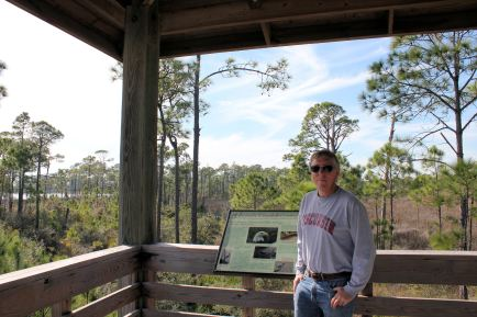 Phil in observation tower overlooking Gator Lake