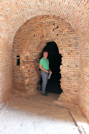 Phil in casemate (rooms within fort walls)