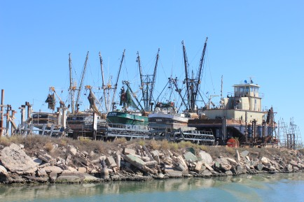 Shrimp boats in dry dock