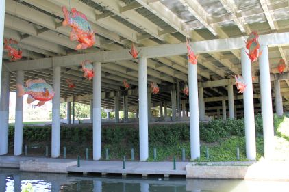 Hanging fish along the Riverwalk