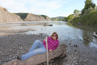 Jan relaxing by Yellowstone River