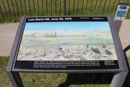 Sign at Last Stand Hill where Lt. Col. George Custer and 41 his men died