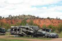 Red sandstone hills behind our rig