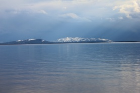 Snow-capped Mountains surrounding Yellowstone Lake