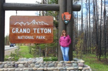 Jan at Grand Teton NP sign