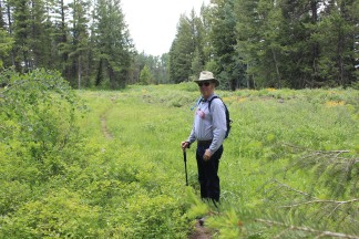 Phil on trail between Lower and Upper Mesa Falls