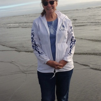 Jan enjoying the ocean breeze