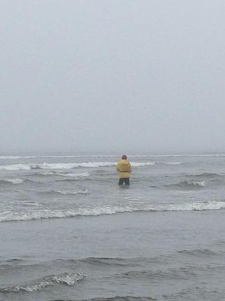 Lonely fisherman in the Pacific