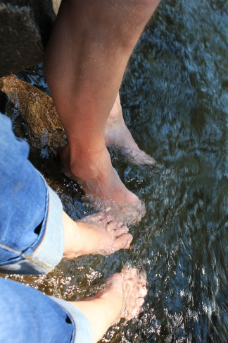 Cooling our feet in the stream