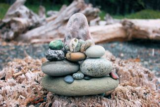Jan's lucky cairn built on beach