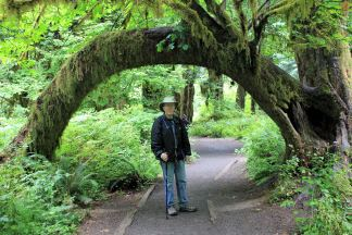Phil under moss-covered arch
