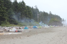 Tent campers on beach