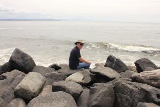 Phil sitting on North Jetty