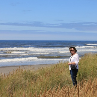 Jan overlooking Ocean Shores beach