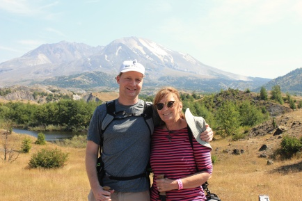 Jana and Jason on Hummocks Trail with Mount St. Helens in background