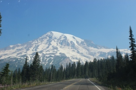 View of Mt. Rainier from scenic byway