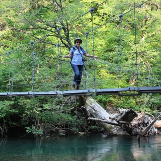 Jan on wooden suspension bridge in Grove of Patriarchs