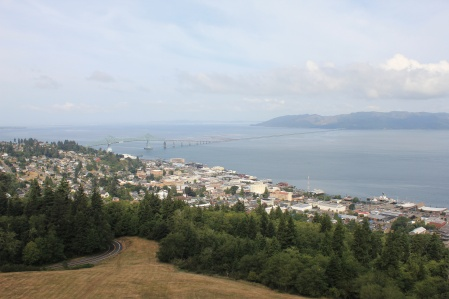 View of Astoria-Megler Bridge and Columbia River from top of Astoria Column