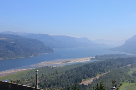View of Columbia River Gorge from Vista House observation deck