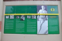 Display honoring Steve Prefontaine and two legendary Oregon track coaches
