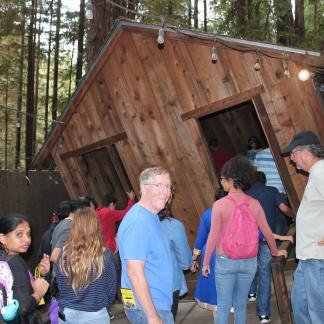 Phil entering tilted shed