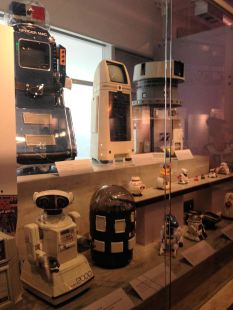 A collection of robots displayed at the Computer History Museum