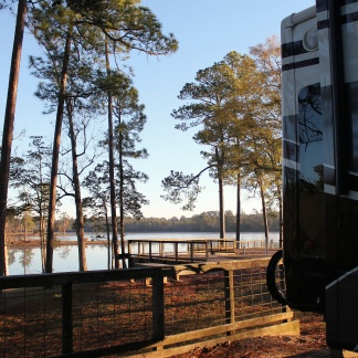 View of lake behind our rig