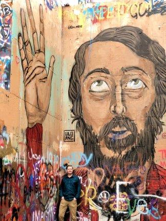 Jason at the Baylor Street Art Wall