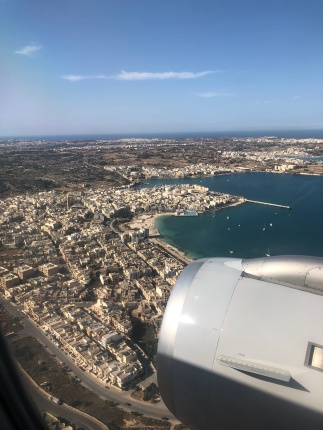 View from airplane on approach to Malta