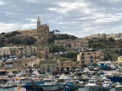 Our Lady of Lourdes, overlooking Mgarr Harbor where Jan boarding return ferry