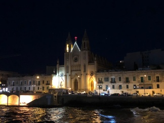 Night view of Our Lady of Mt. Carmel Parish