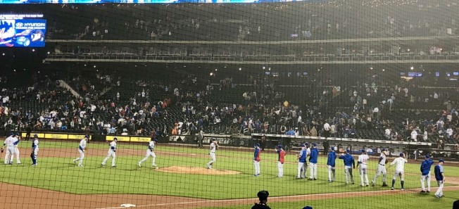 Cubs celebrating after win