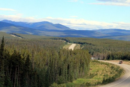 Scenic highway on our drive to Teslin