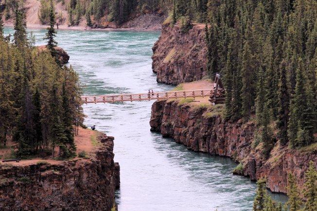 Suspension bridge over Echo Canyon