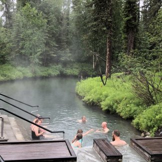 The cooler end of the hot springs