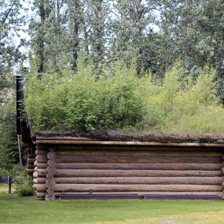 Outbuilding with sod roof