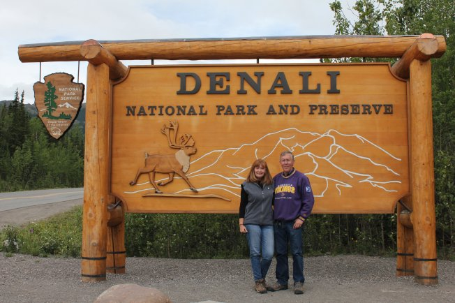 Jan and Phil at park sign