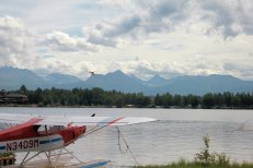 Float plane landing on Lake Hood