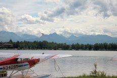 Float plane landing on Lake Hood