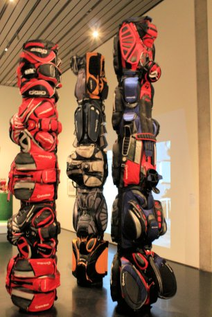 Totem poles from golf bags