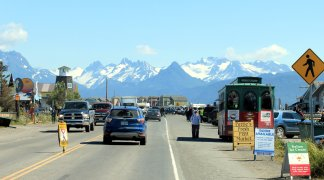 Traffic on Homer Spit