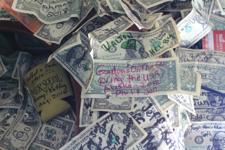 Our dollar bill at the Salty Dawg
