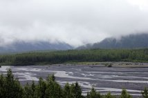 Outwash plain with runoff from glacier