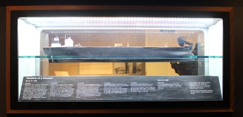 Model of Exxon Valdez and timeline of disaster