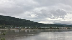 View of Dawson City from across the Yukon River