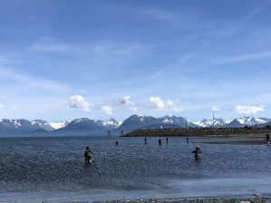 Fishermen along Homer Spit