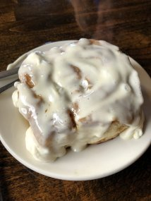 Cinnamon bun at Sheep Mountain Lodge