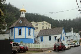 St. Nicolas Russian Orthodox Church, with Catholic Church in background